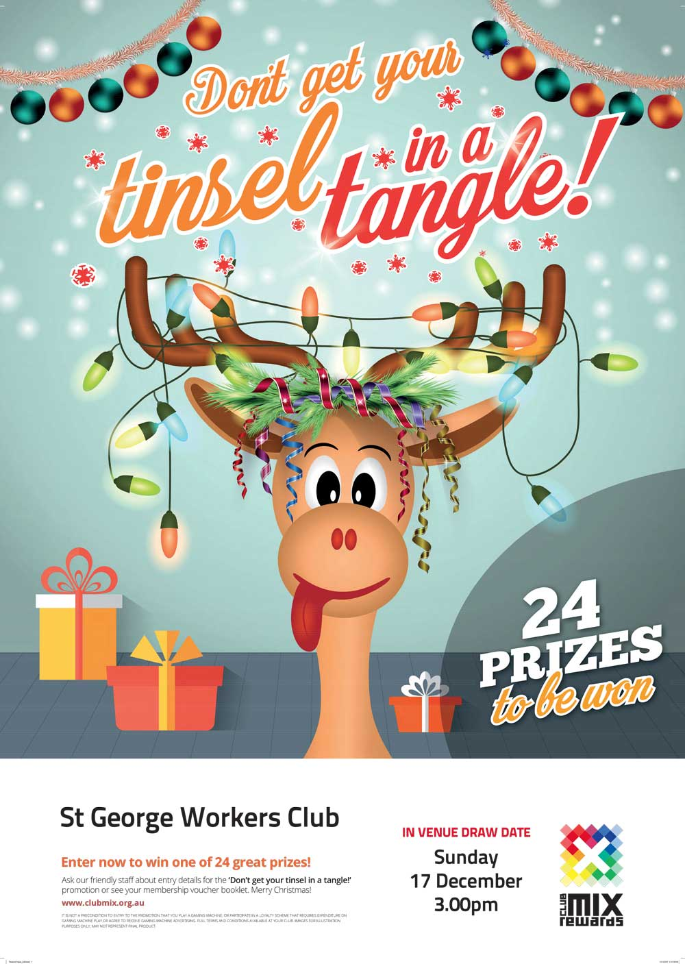 st george tinsel tangle promotion st george workers club. Black Bedroom Furniture Sets. Home Design Ideas